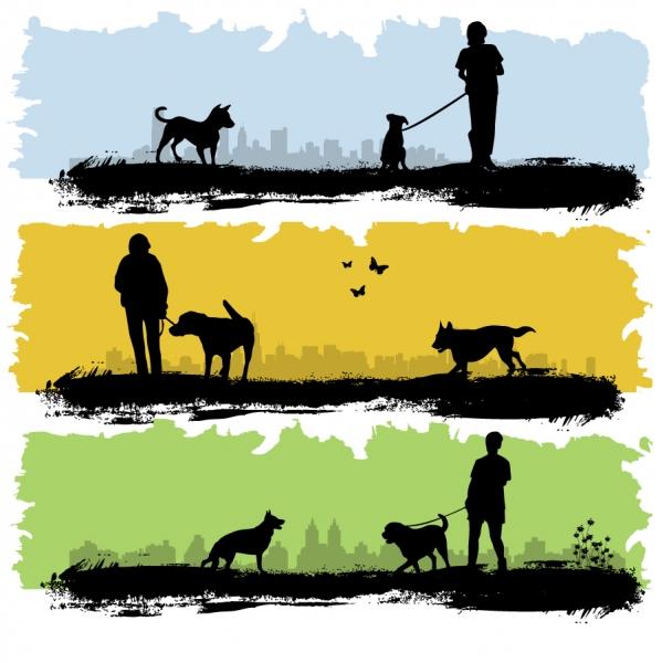 ギター演奏と犬の散歩のシルエット guitar playing and walk the dog silhouette4