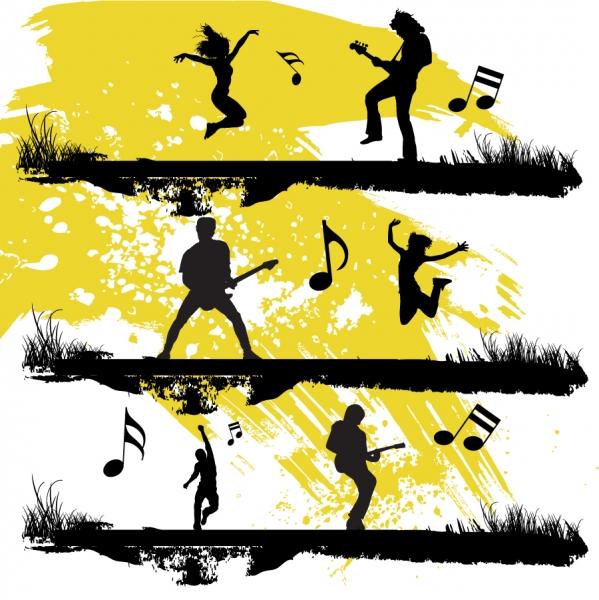 ギター演奏と犬の散歩のシルエット guitar playing and walk the dog silhouette2