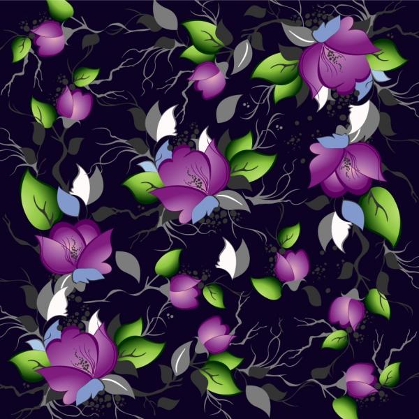 落ち着いたシームレスな花柄背景 Elegance Floral Pattern Background