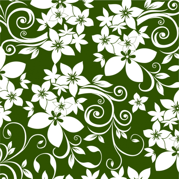 白い花弁と濃い緑の背景 Floral Ornament on Green Background