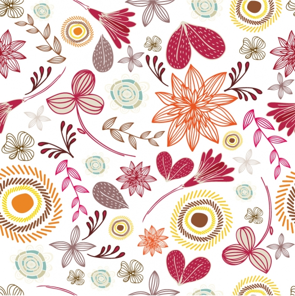 シームレスな植物柄パターン Seamless Floral Pattern