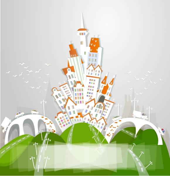 未来都市の建造物のクリップアート cartoon urban theme