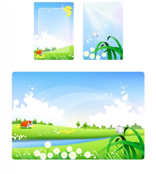 明るい陽射しの草原の風景 beautiful green landscape