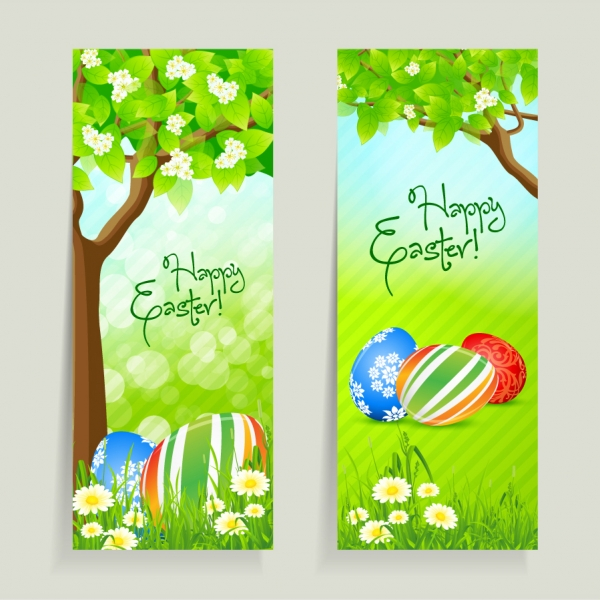 草木とイースターエッグのバナー fresh Easter vector material