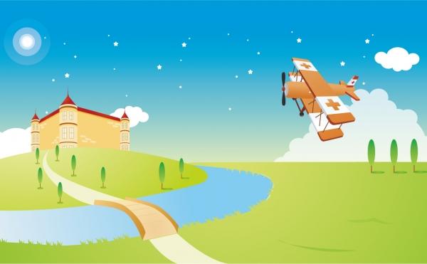 お城の上空を飛行する複葉機 Biplane fly over castle