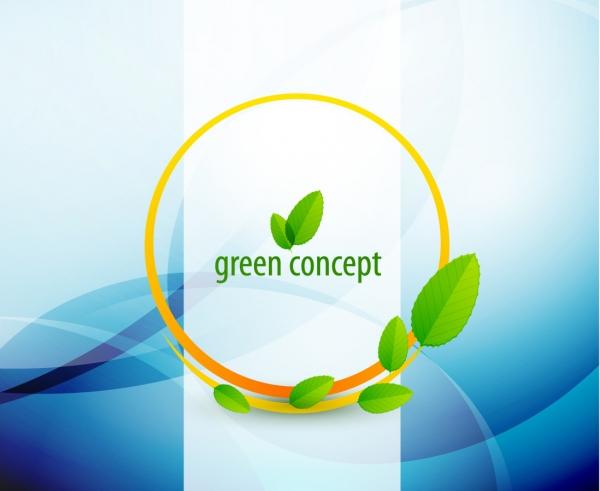 緑の葉とサークルの表紙カバー Green leaves flow lines background