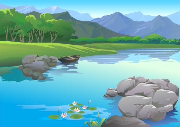 水辺から望む山並みの遠景 Beautiful mountains water natural landscape