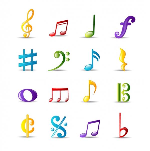 カラフルな音符のアイコン Musical notes icons