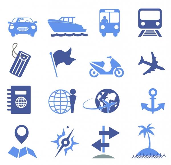 フラットデザインのトラベル アイコン Travel Icons