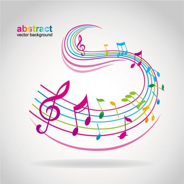 曲線の楽譜にカラフルな音符 musical notes dancing1