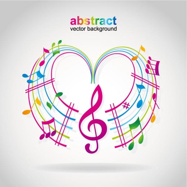曲線の楽譜にカラフルな音符 musical notes dancing2
