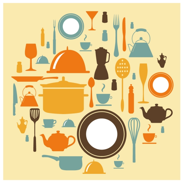 食器のシルエット アイコン restaurant dishware food silhouette icon