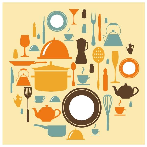 食器のシルエット アイコン restaurant dishware food silhouette icon