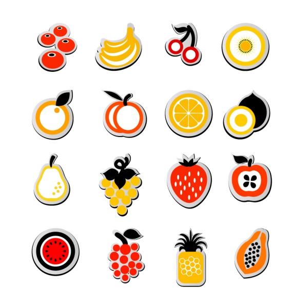 シンボリックな果物アイコン fruit icon sticker