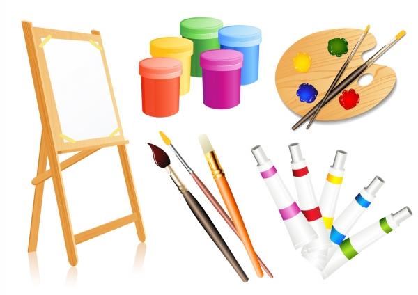 絵画用品のクリップアート drawing tools supplies
