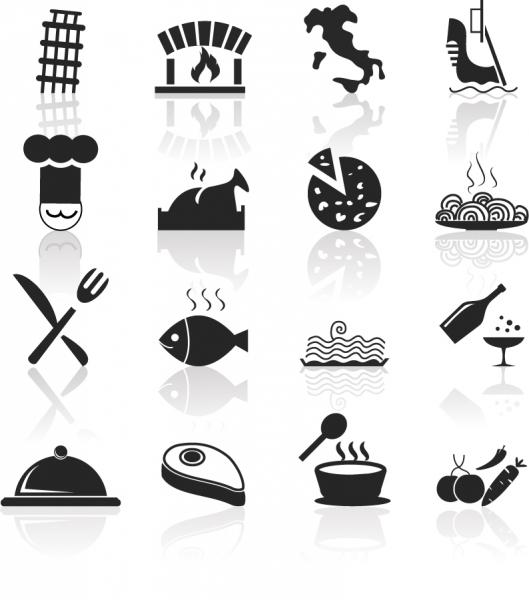 イタリア料理のシルエット アイコン Italian Food and Restaurant icons