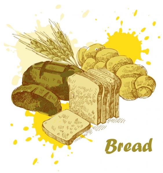 手書きで描いたパンのクリップアート bread wheat vector material