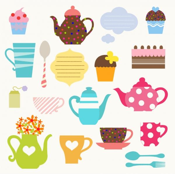 カラフルなティーポットのクリップアート Tea Party Set