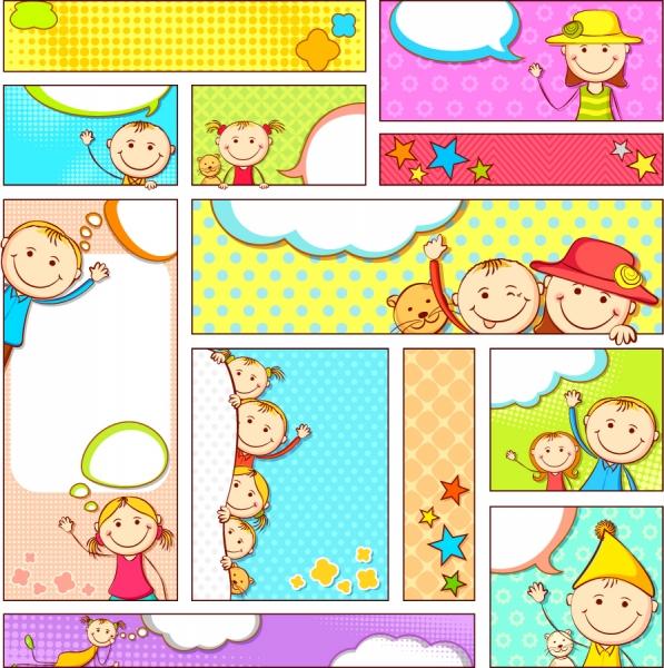 子供用お知らせメモ テンプレート Cartoon illustration banner dialog box