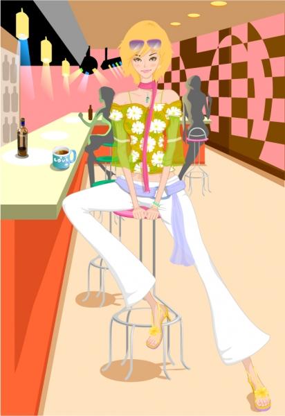 お茶を楽しむ美女 Bar Girl Vector