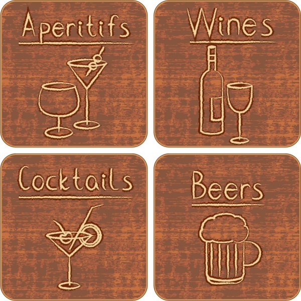 手描きのお酒アイコン wine bottles cocktails handpainted icons
