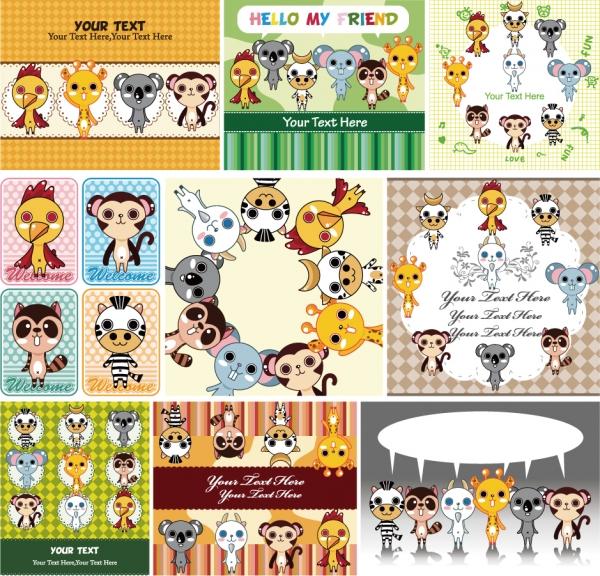 動物マンガのステーショナリー デザイン cute animals stationery design