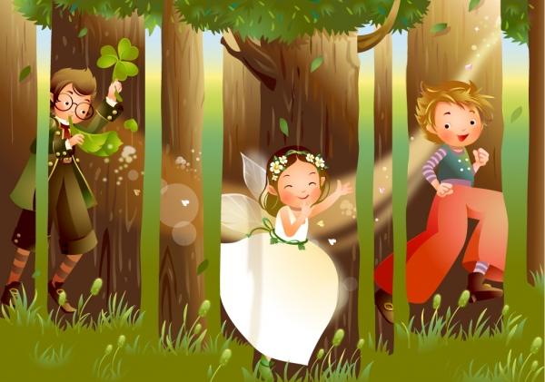 森で遊ぶ子供達のイラスト cartoon children plays forest trees
