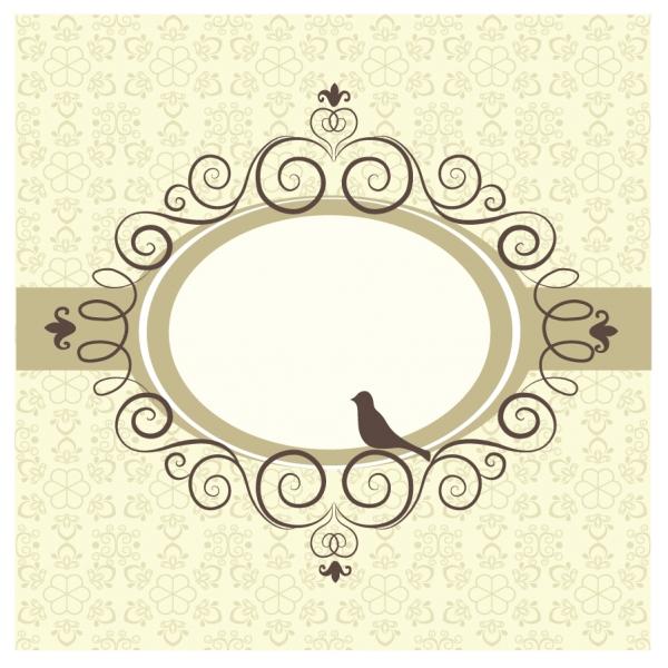 鳥のシルエットの飾りフレーム Ornate bird Frame