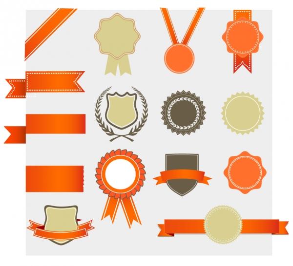 表彰用のデザイン素材 retro award design elements