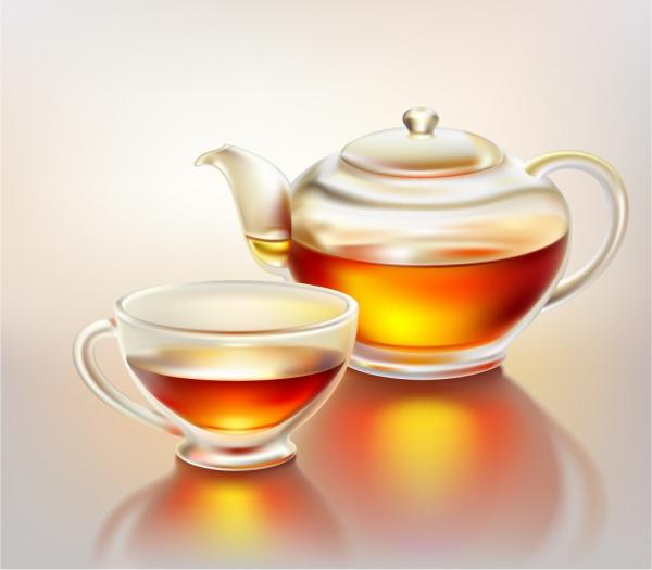紅茶とティーポット Realistic teacup