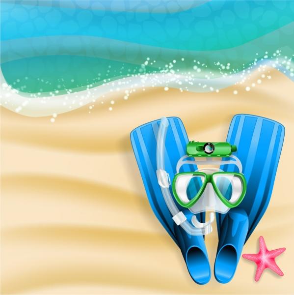 浜辺の水中メガネとフィン Summer Beach Vector Background
