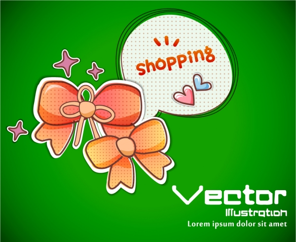 可愛いリボン飾りのクリップアート Cartoons bows vector material