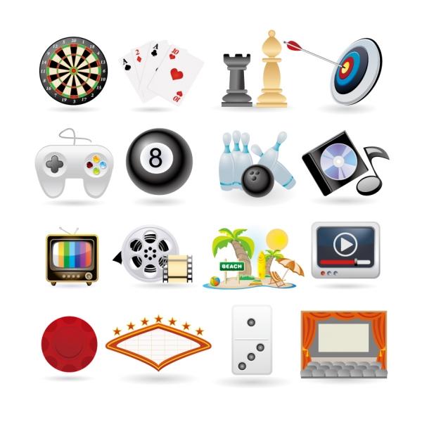 娯楽ゲーム用品のアイコン life entertainment icons