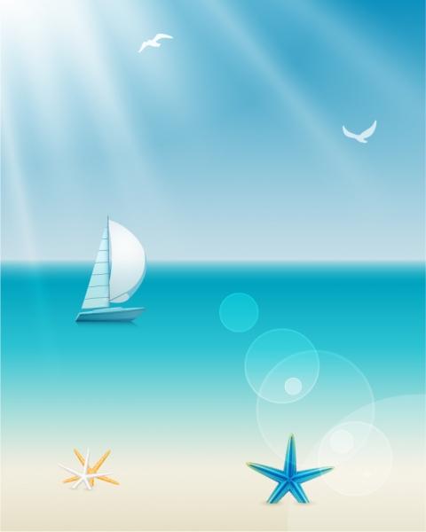 太陽が降り注ぐ浜辺のヨット beach sea summer vector illustration