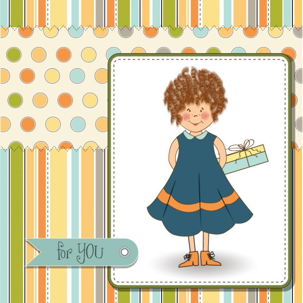 可愛い誕生日プレゼントのカード birthday present cute cartoon card