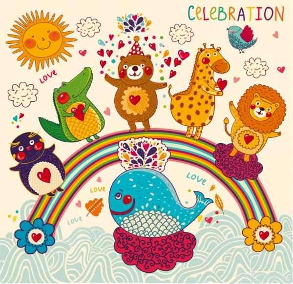 虹を渡る手書きの動物たち Handpainted cartoon animals pattern