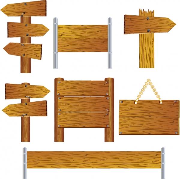木目の美しい案内板テンプレート beautifully realistic wood signs