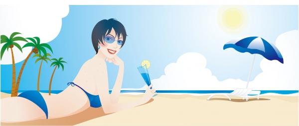 太陽いっぱい浜辺の美女 Beach beauty vector