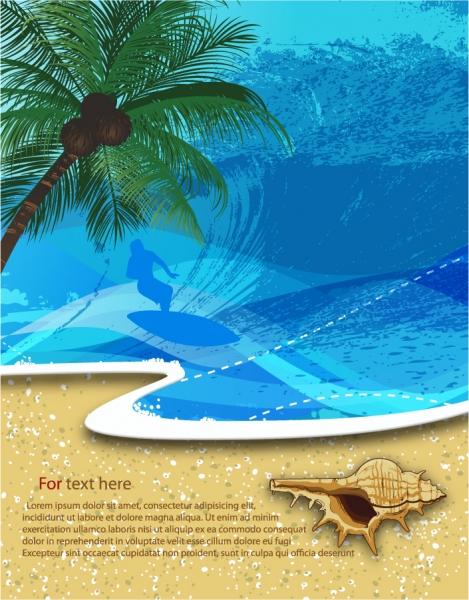 浜辺の貝殻とサーファーのシルエット Summer beach background