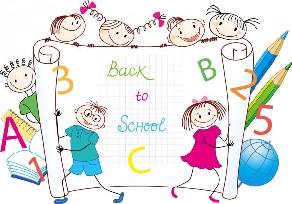 学校をテーマにした子供達の背景 Cartoon handpainted students