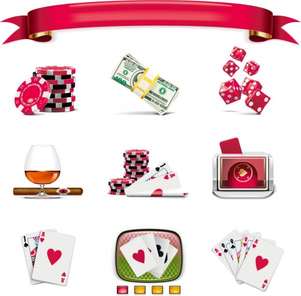 カードゲームとカジノのアイコン Gaming theme icon1