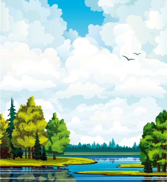 水彩画風に森の風景を描いた背景 Landscapes Vector Background