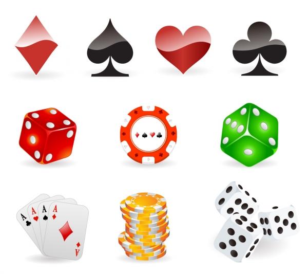 カードゲームとサイコロのアイコン Gambling icons