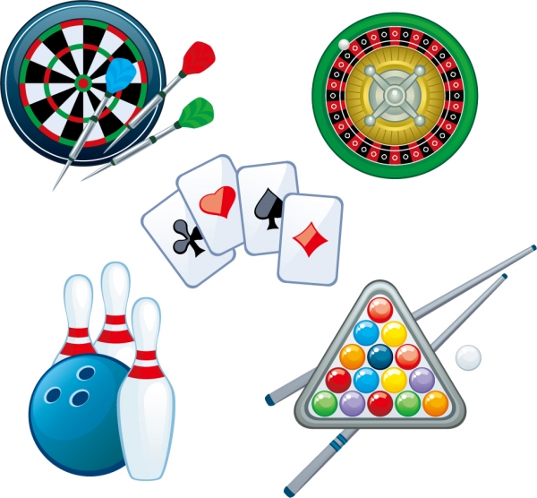 室内ゲームのクリップアート Darts playing cards poker roulette vector