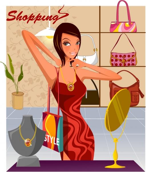 アクセサリーを買い求める女性のイラスト Fashion shopping women vector