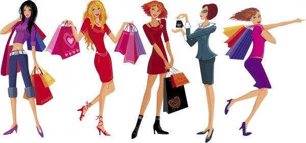 お洒落なファッションの買い物をする女性 Women vector fashion shopping3