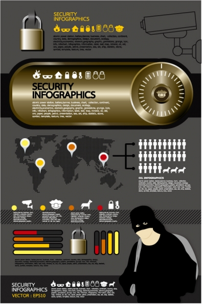 セキュリティ関連のインフォグラフィックス テンプレート Elements of security infographics vector