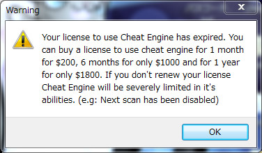 cheat engine license expired