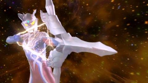 ファイナルウルティメイトゼロを放つウルトラマンゼロ