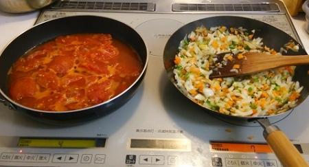 ピザソース 料理開始